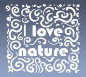Vector la natura ornamentale di amore di logo I su fondo blu Fotografie Stock