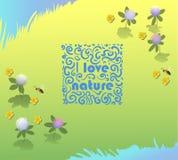 Vector la natura ornamentale di amore di logo I sui precedenti dell'erba Giorno di ambienti di mondo illustrazione di stock