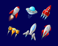 Vector la nave espacial y el vector del UFO fijados en estilo de la historieta Rocket y nave espacial, transporte futurista, nave Imagen de archivo