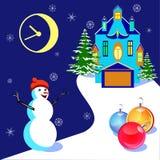 Vector la Navidad con una casa y un muñeco de nieve Imágenes de archivo libres de regalías