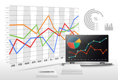 Vector la oficina moderna con datos de negocio y la contabilidad financiera Imagen de archivo