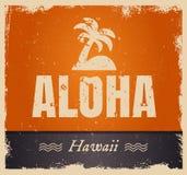 Vector la palabra de la hawaiana en los colores del vintage, retros Foto de archivo libre de regalías