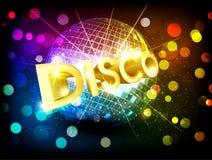 Vector la palla della discoteca e l'iscrizione dell'oro Fotografia Stock Libera da Diritti