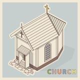 Vector la pequeña iglesia cristiana, perspectiva isométrica, aislada en el fondo blanco Foto de archivo