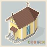 Vector la pequeña iglesia cristiana, perspectiva isométrica, en el fondo blanco Foto de archivo
