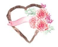 Vector la pianta del cuore e la decorazione rosa di nozze del fiore Immagini Stock