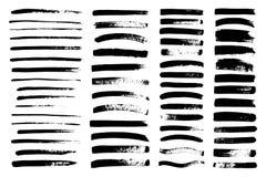 Vector la pintura negra, entinte el movimiento del cepillo, cepillo, línea Imagenes de archivo