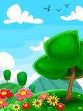 Vector la pittura del bambino dell'uccello del cielo della nuvola dell'azienda agricola del fiore dell'albero di scena del prato  illustrazione di stock