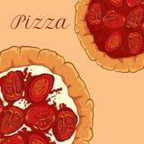 Vector la pizza napoletana con formaggio bianco, pomodoro Fotografia Stock