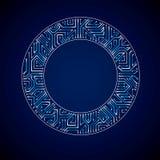 Vector la placa de circuito abstracta del resplandor del ordenador, technol redondo azul Fotografía de archivo libre de regalías