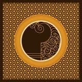 Vector la plantilla árabe de oro de la tarjeta con los círculos y los modelos adornados diseño para las cubiertas, impresión, tar Fotos de archivo