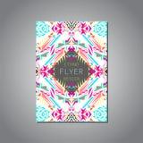Vector la plantilla colorida geométrica del folleto para el negocio y la invitación Estilo étnico, tribal, azteca Formato A4 stock de ilustración