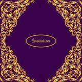 Vector la plantilla con el ornamento de lujo del oro del vintage y coloqúela para el texto Los elementos del diseño se pueden uti Imagen de archivo