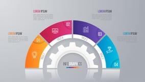 Vector la plantilla de la carta del círculo para el infographics 4 opciones Imagenes de archivo