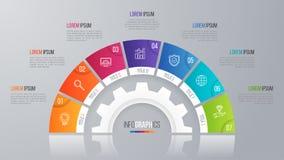 Vector la plantilla de la carta del círculo para el infographics 7 opciones Imágenes de archivo libres de regalías