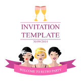 Vector la plantilla de la invitación al partido retro con las muchachas de la aleta en estilo plano libre illustration
