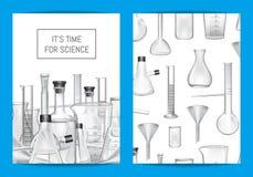Vector la plantilla de la tarjeta, del aviador o del folleto para el laboratorio químico ilustración del vector