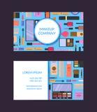 Vector la plantilla de la tarjeta de visita para el artista de la marca o de maquillaje de la belleza con maquillaje y skincare p libre illustration