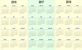 Vector la plantilla del calendario - 2016, 2017, 2018 Foto de archivo libre de regalías
