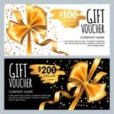 Vector la plantilla del carte cadeaux o del vale con la cinta del arco del oro Diseño de lujo para la cupón del regalo del vip, c stock de ilustración
