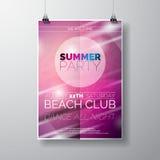 Vector la plantilla del cartel del aviador del partido en tema de la playa del verano con el fondo brillante abstracto Imágenes de archivo libres de regalías