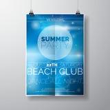 Vector la plantilla del cartel del aviador del partido en tema de la playa del verano con el fondo brillante abstracto stock de ilustración