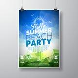 Vector la plantilla del cartel del aviador del partido en tema de la playa del verano con el fondo brillante abstracto Foto de archivo libre de regalías