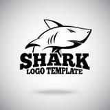 Vector la plantilla del logotipo con el tiburón, para los equipos de deporte, las marcas etc Fotos de archivo