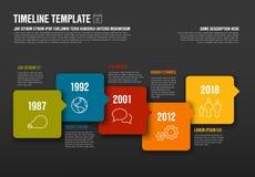 Vector la plantilla horizontal de la cronología de Infographic hecha de burbujas y de iconos de la flecha Imagen de archivo