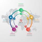 Vector la plantilla infographic del círculo con 5 opciones, piezas, pasos Foto de archivo libre de regalías
