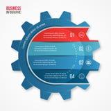 Vector la plantilla infographic del estilo del engranaje del negocio y de la industria para los gráficos, las cartas, los diagram Imagenes de archivo