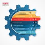 Vector la plantilla infographic del estilo del engranaje del negocio y de la industria para los gráficos, las cartas, los diagram Fotografía de archivo libre de regalías