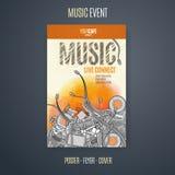 Vector la plantilla para un cartel del concierto o un aviador que ofrece un evento de la música libre illustration