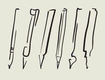 Vector la pluma, lápiz, marcador, cepillo Imagen de archivo