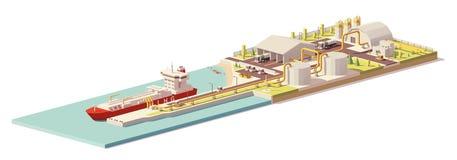 Vector la poli nave bassa del terminale di LNG e del trasportatore di LNG Immagini Stock