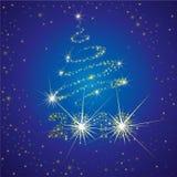 Vector la priorità bassa con 2010 e l'albero di Natale illustrazione di stock