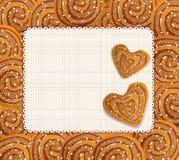 Vector la priorità bassa con biscotti heart-shaped Fotografia Stock Libera da Diritti