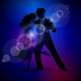 Vector la progettazione con tango di dancing delle coppie su fondo scuro. Fotografie Stock Libere da Diritti
