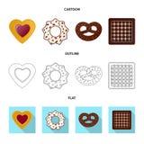 Vector la progettazione del biscotto e cuocia il logo Insieme del simbolo di riserva del cioccolato e del biscotto per il web illustrazione vettoriale