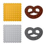 Vector la progettazione del biscotto e cuocia il segno Insieme dell'icona di vettore del cioccolato e del biscotto per le azione illustrazione di stock