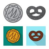 Vector la progettazione del biscotto e cuocia l'icona Insieme dell'icona di vettore del cioccolato e del biscotto per le azione illustrazione vettoriale