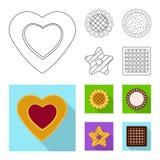 Vector la progettazione del biscotto e cuocia l'icona Insieme dell'illustrazione di riserva di vettore del cioccolato e del bisco illustrazione di stock