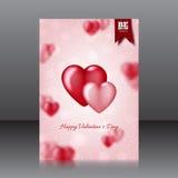 Vector la progettazione dell'aletta di filatoio per il San Valentino con i cuori Fotografia Stock Libera da Diritti