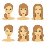 Vector la progettazione di bella raccolta della pettinatura femminile Immagini Stock Libere da Diritti