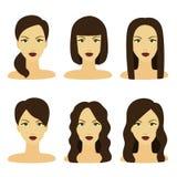 Vector la progettazione di bella raccolta della pettinatura femminile Immagini Stock