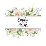 Vector la progettazione di carta floreale dell'invito dell'acquerello di nozze di arte della carta illustrazione di stock