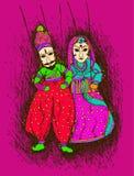Vector la progettazione di Rajasthani variopinto/burattino indiano illustrazione di stock
