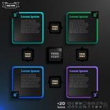 Vector la progettazione infographic con i quadrati variopinti sui precedenti neri Immagine Stock
