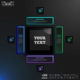 Vector la progettazione infographic con i quadrati variopinti sui precedenti neri Fotografia Stock Libera da Diritti