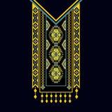 Vector la progettazione per le camice del collare, bluse, maglietta Un collo etnico di due fiori di colori Confine decorativo di  illustrazione di stock